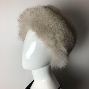 Vintage Mink Fur Hat Light Grey Beige
